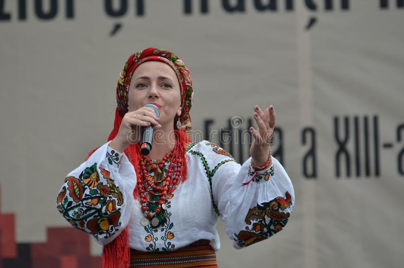 International Folklore Festival: Ukrainian singer in traditional costume stock photo