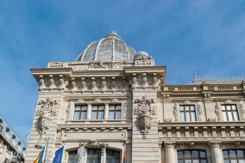Bucharest, Romania - March 16, 2019: close up detail of dome at the Romania National History Museum also known as the Postal stock photography
