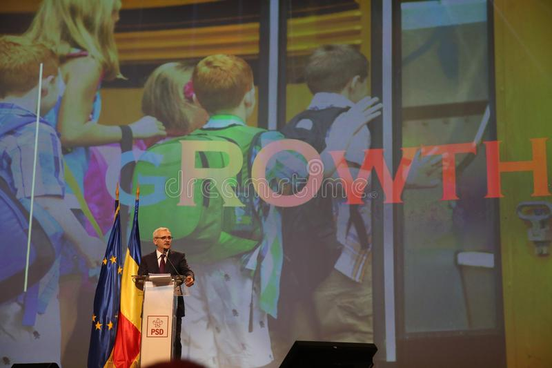 Liviu Dragnea at Social Democrat Party PSD Extraordinary National Congress. BUCHAREST, ROMANIA - March 10, 2018: Liviu Dragnea, President of Social Democrat stock photography
