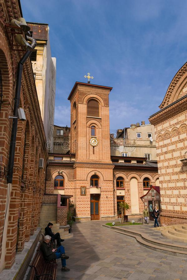 Bucharest, Romania - March 16, 2019: people visiting church. `Sfantul Antonie Curtea Veche` situated in Old Town part of Bucharest, Romania stock photos