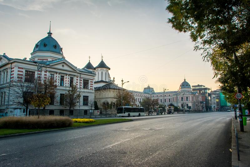 Bucharest, Romania, November 2018: Bucharest city center is home to one of the most beautiful hospitals - Coltea stock images