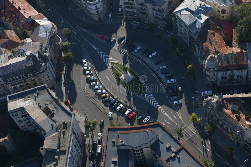 Bucharest, Romania, October 9, 2016: Aerial view of Kogalniceanu place in the historical center of Bucharest royalty free stock image