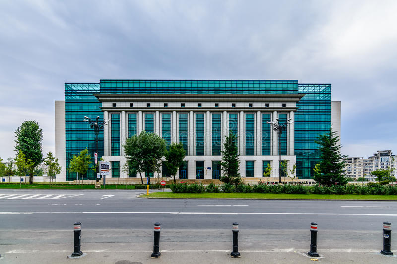 BUCHAREST, ROMANIA - OCTOBER 25, 2015: Romanian National Library. (Biblioteca Nationala a Romaniei) is the greatest library in the country. It hosts almost 12.5 stock photo