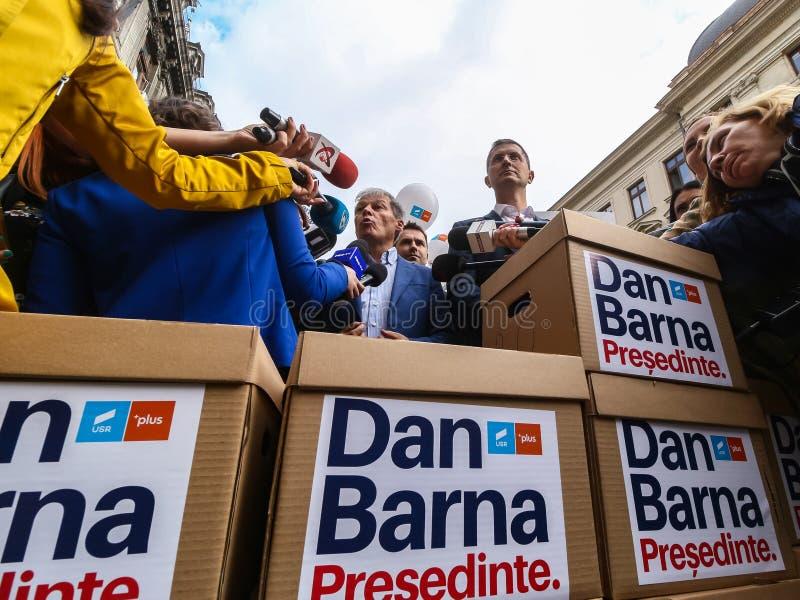 Dan Barna - race for the presidential mandate - Romanian politics. Bucharest, Romania - September 20, 2019: Dan Barna R, Co-Chairman of the 2020 USR-PLUS stock image