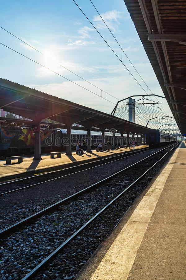Bucharest, Romania - 2019. Trains on the platform at Bucharest North Railway Station Gara de Nord in Bucharest, Romania royalty free stock photography