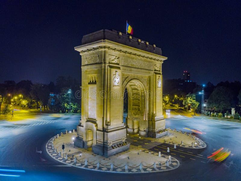 Bucharest Rumänien, Juni 19,2018 - triumf- båge Bucharest arkivbilder
