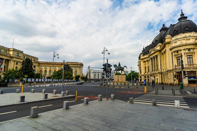Bucharest, Rumunia - 2019 Carol Ja Uniwersytecka podstawy i centrali biblioteka uniwersytecka Bucharest, Rumunia obrazy royalty free