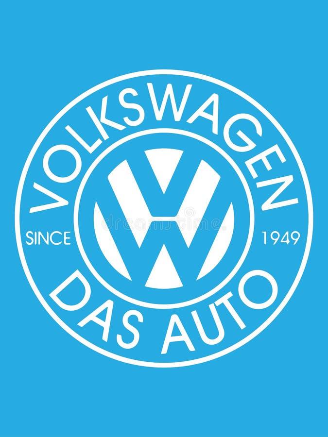 BUCHAREST, RUMUNIA LIPIEC 2, 2019: Wektorowy projekt umieszczający na bławym tle wolkswagena logo Wolkswagen jest niemiec ilustracja wektor