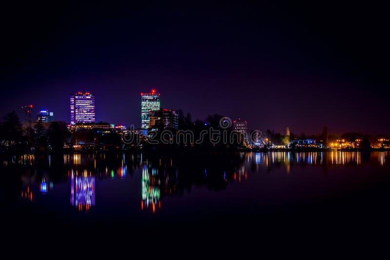 Bucharest Skyline, Bucharest city lights, skyscrapers reflecting, city lights at night stock photography