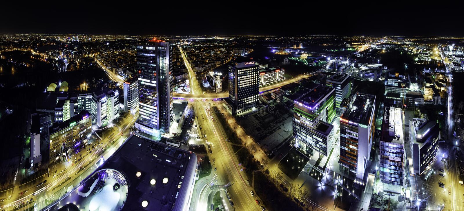 Bucharest skyline panorama at bluehour royalty free stock photos