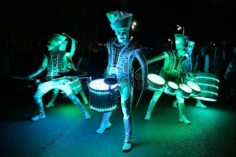 Bucharest Spotlight Festival drumers with lights royalty free stock photography