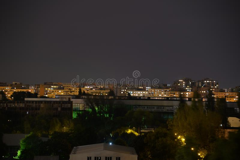 Bucharest stadsnatt royaltyfria bilder