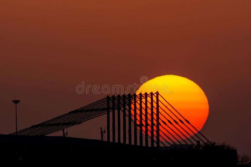 Bucharest sunset at Otopeni airport , Romania. In summer time stock image