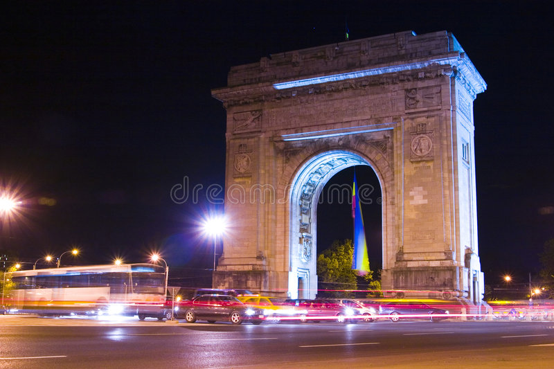 Bucharest Triumphal Arch stock images