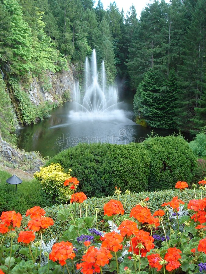 buchart BC喷泉庭院罗斯・维多利亚 库存图片