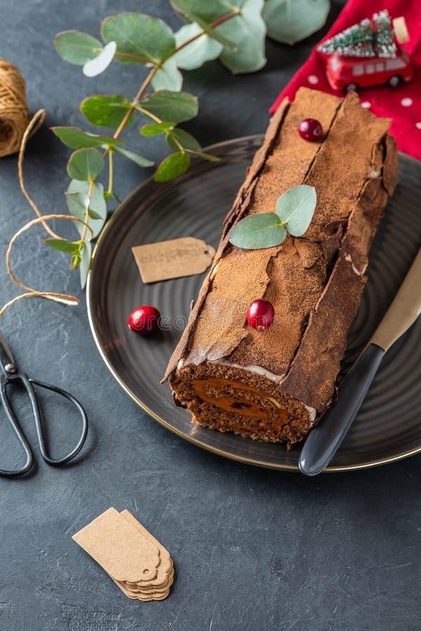 Buche DE Noel Het traditionele Kerstmisdessert, Kerstmis yule registreert cake met chocoladeroom, Amerikaanse veenbes De ruimte v royalty-vrije stock foto's