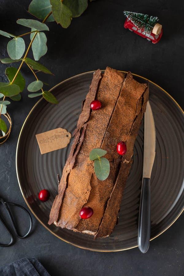 Buche De Noel Tradycyjny Bo?enarodzeniowy deser, Bo?enarodzeniowy yule beli tort z czekoladow? ?mietank?, cranberry kosmos kopii zdjęcia royalty free