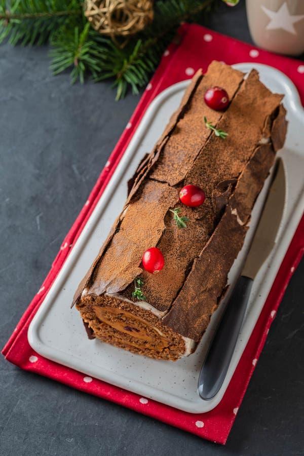 Buche De Noel Tradycyjny Bo?enarodzeniowy deser, Bo?enarodzeniowy yule beli tort z czekoladow? ?mietank?, cranberry Na kamiennych fotografia royalty free