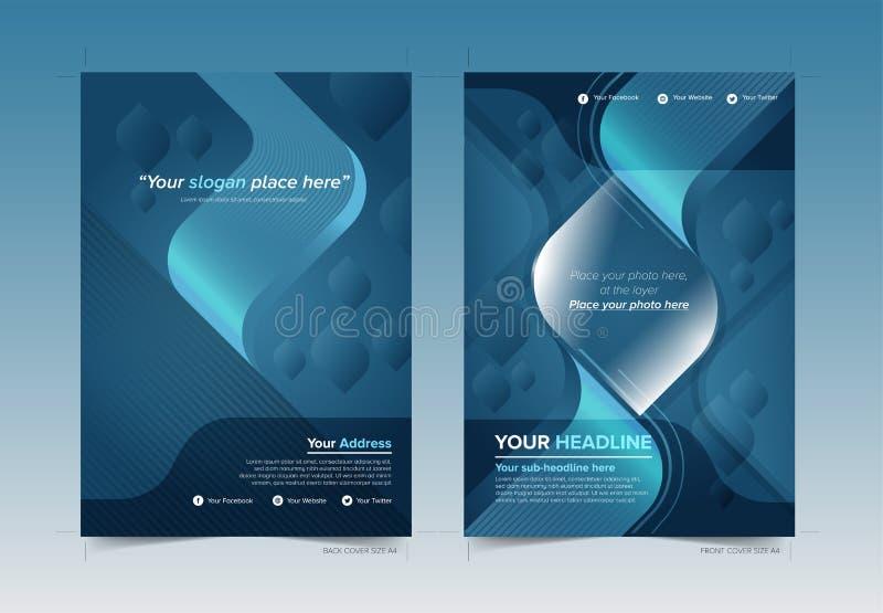 Bucheinband-Design-Front und Rückseite mit Blutbereich in Vektor-druckbereitem lizenzfreie abbildung
