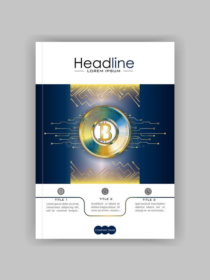 Bucheinband-Designschablone mit bitcoin und futuristischem technolog stock abbildung