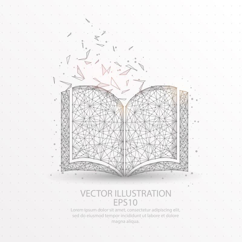 Buchen Sie niedrigen Polydrahtrahmen auf weißem Hintergrund vektor abbildung