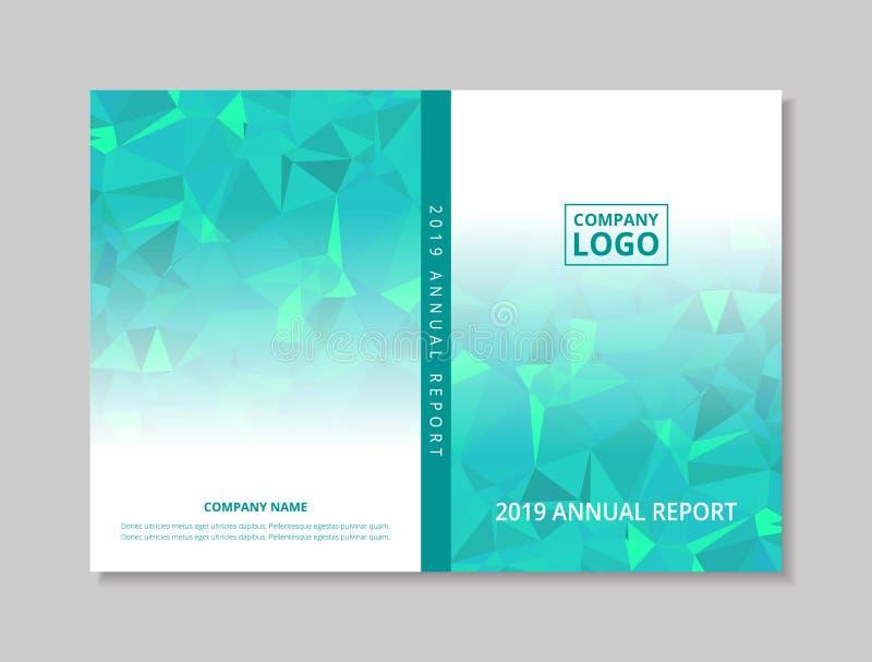 Buchentwurfsfront- und -Rückendeckelschablone des Jahresberichts 2019, blaues grünes abstraktes niedriges Polygon auf weißem Hint stock abbildung