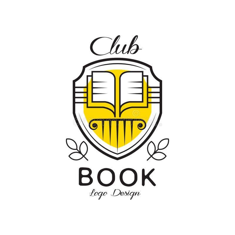 Buchgemeinschaftslogodesign, heraldisches Schild mit offenem Buch, Ausweis für für Buchhandlung, Universität, Bibliothek, Buchfes lizenzfreie abbildung