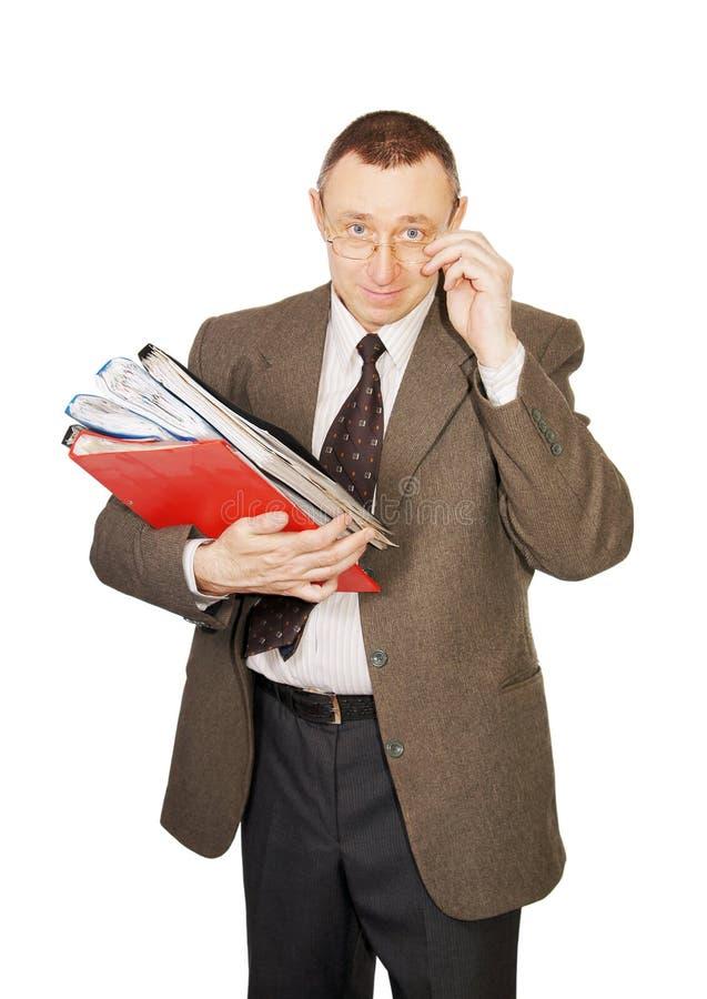 Buchhalter mit Dokumenten lizenzfreie stockfotos