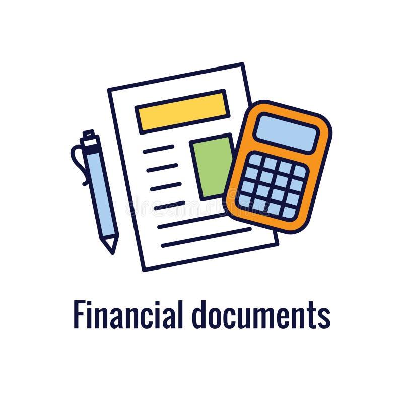 Buchhalter oder erklärende Ikone stellten w-Geld, Buchhaltung u. ähnliches Konzept ein vektor abbildung