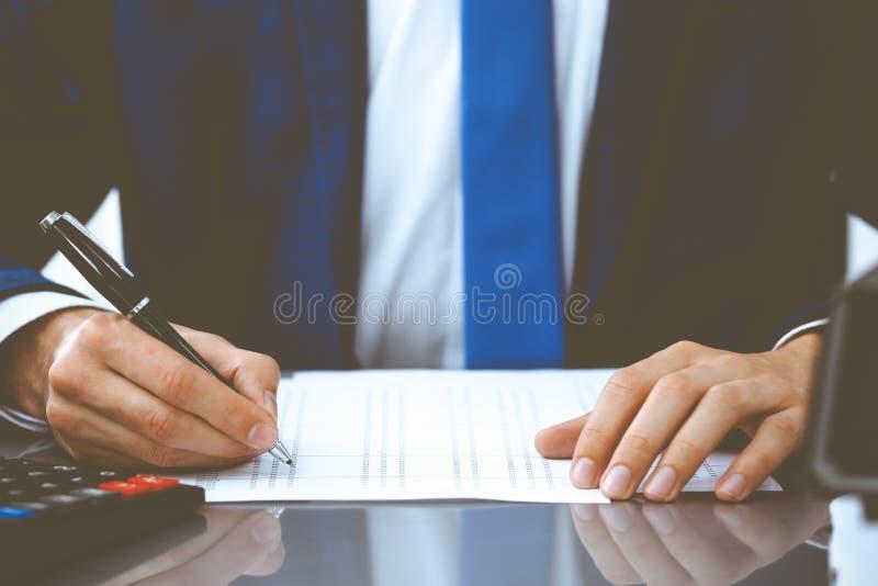 Buchhalter oder Finanzinspekteure erstellen einen Bericht, berechnen oder überprüfen den Saldo Interne Steuerverwaltung lizenzfreies stockfoto
