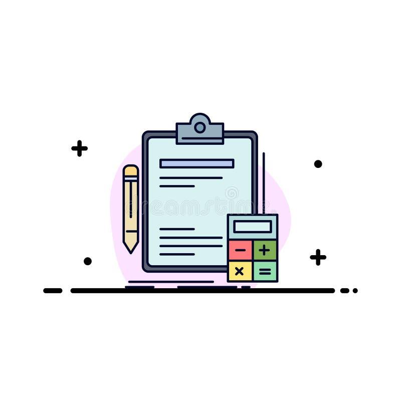 Buchhaltung, Bankwesen, Taschenrechner, Finanzierung, Rechnungsprüfungs-flacher Farbikonen-Vektor lizenzfreie abbildung