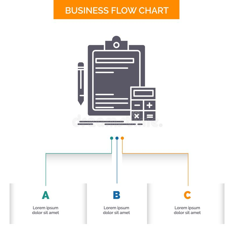 Buchhaltung, Bankwesen, Taschenrechner, Finanzierung, Rechnungsprüfungs-Geschäfts-Flussdiagramm-Entwurf mit 3 Schritten Glyph-Iko vektor abbildung
