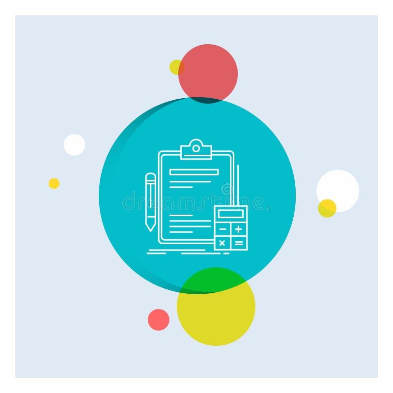 Buchhaltung, Bankwesen, Taschenrechner, Finanzierung, Rechnungsprüfungs-weiße Linie Ikonen-bunter Kreis-Hintergrund stock abbildung