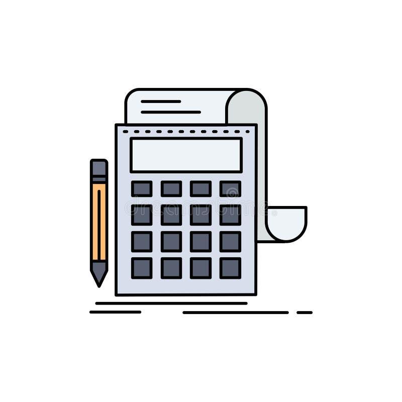 Buchhaltung, Rechnungsprüfung, Bankwesen, Berechnung, Taschenrechner flacher Farbikonen-Vektor vektor abbildung