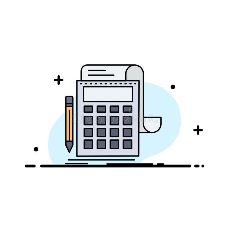 Buchhaltung, Rechnungsprüfung, Bankwesen, Berechnung, Taschenrechner flacher Farbikonen-Vektor lizenzfreie abbildung
