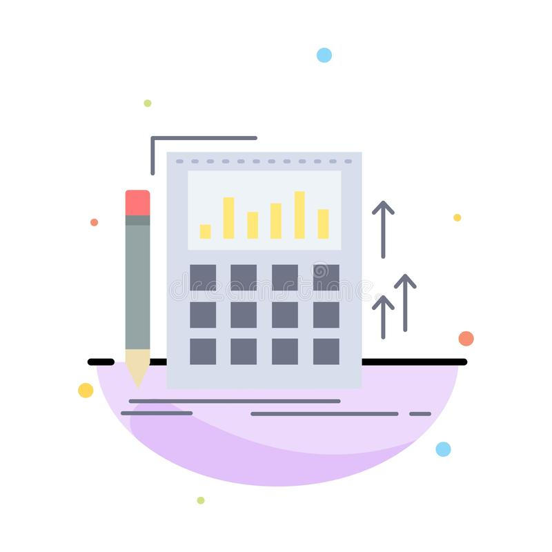 Buchhaltung, Rechnungsprüfung, Bankwesen, Berechnung, Taschenrechner flacher Farbikonen-Vektor stock abbildung