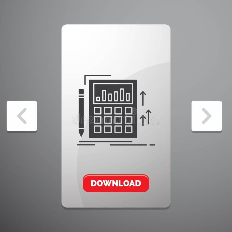 Buchhaltung, Rechnungsprüfung, Bankwesen, Berechnung, Taschenrechner Glyph-Ikone im Carousals-Paginierungs-Schieber-Entwurf u. ro lizenzfreie abbildung