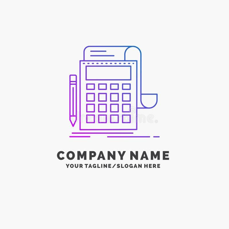 Buchhaltung, Rechnungsprüfung, Bankwesen, Berechnung, Taschenrechner purpurrotes Geschäft Logo Template Platz f?r Tagline stock abbildung