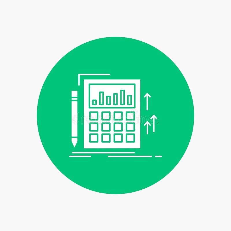 Buchhaltung, Rechnungsprüfung, Bankwesen, Berechnung, Taschenrechner weiße Glyph-Ikone im Kreis Vektor-Knopfillustration lizenzfreie abbildung