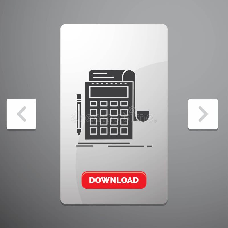 Buchhaltung, Rechnungspr?fung, Bankwesen, Berechnung, Taschenrechner Glyph-Ikone im Carousals-Paginierungs-Schieber-Entwurf u. ro stock abbildung