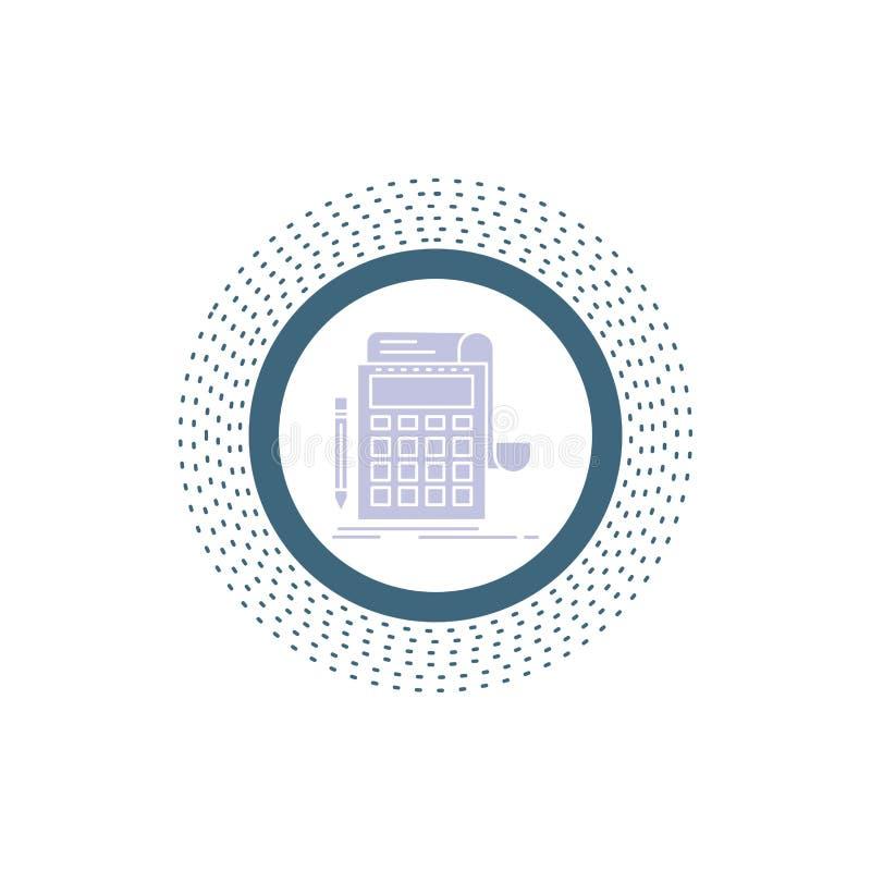 Buchhaltung, Rechnungspr?fung, Bankwesen, Berechnung, Taschenrechner Glyph-Ikone Vektor lokalisierte Illustration stock abbildung