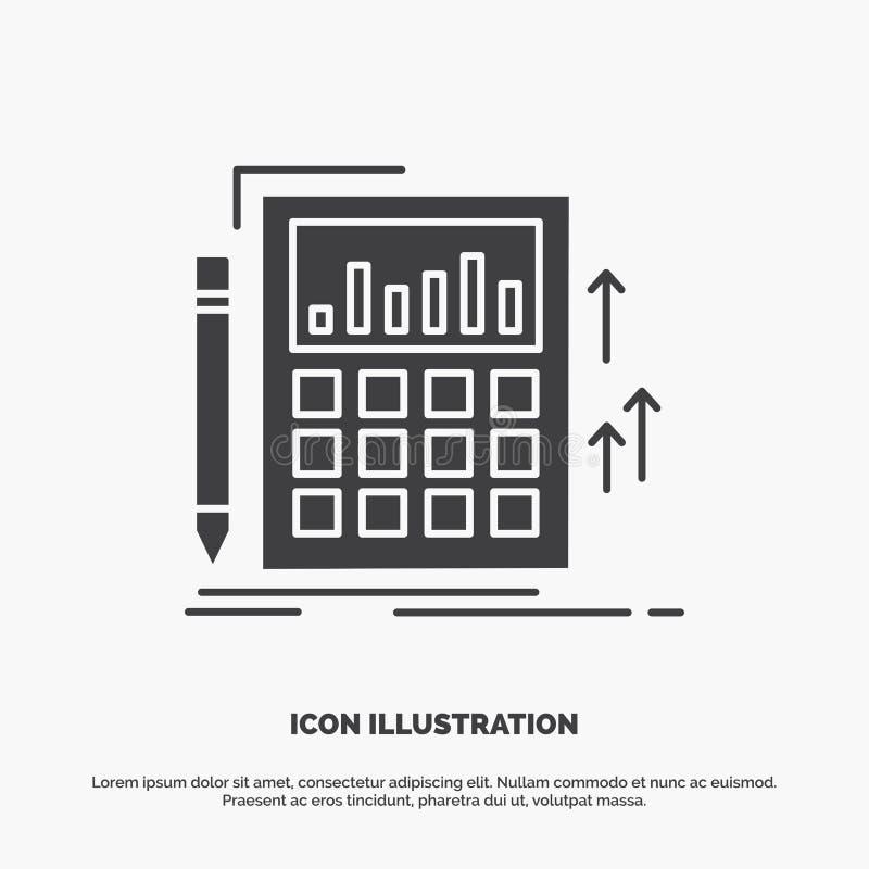 Buchhaltung, Rechnungspr?fung, Bankwesen, Berechnung, Taschenrechner Ikone graues Symbol des Glyphvektors f?r UI und UX, Website  vektor abbildung