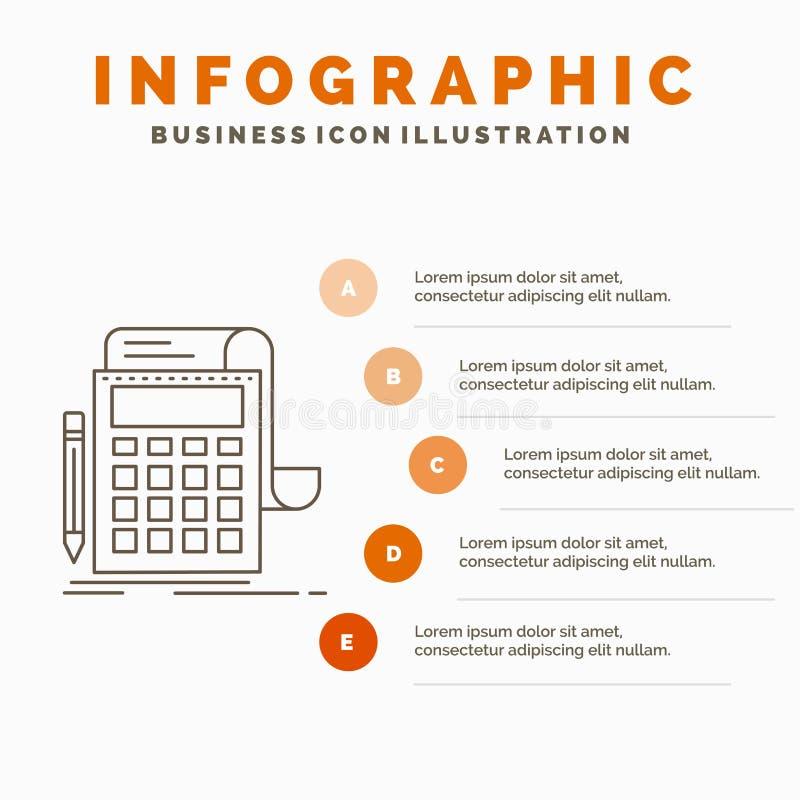 Buchhaltung, Rechnungspr?fung, Bankwesen, Berechnung, Taschenrechner Infographics-Schablone f?r Website und Darstellung Linie gra stock abbildung