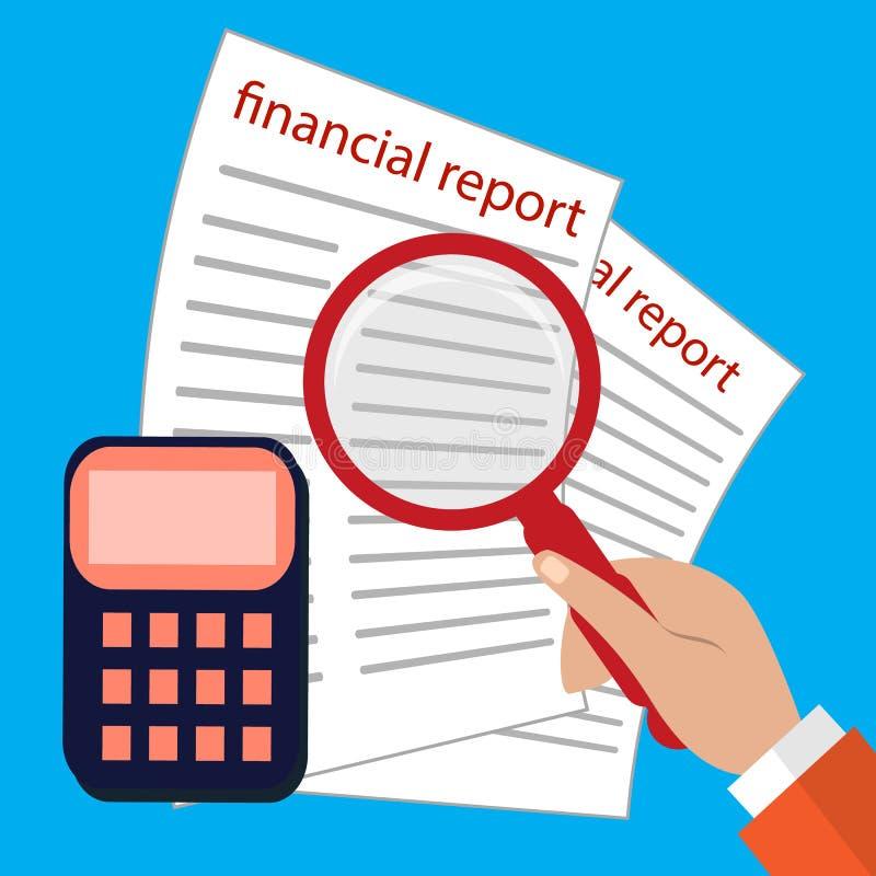 Buchhaltung, Steuern, Rechnungsprüfung, Berechnung, Datenanalyse und flaches Design der Berichtskonzepte lizenzfreie abbildung