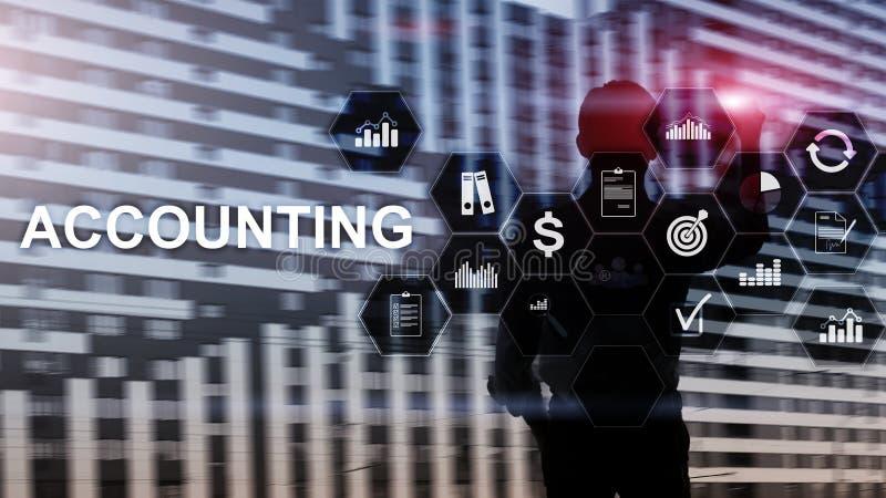 Buchhaltungs-, Geschäfts- und Finanzkonzept auf virtuellem Schirm lizenzfreies stockfoto