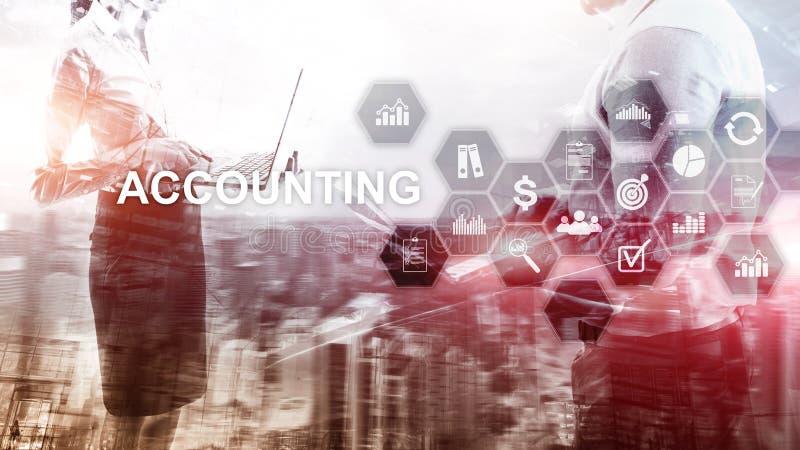 Buchhaltungs-, Geschäfts- und Finanzkonzept auf virtuellem Schirm vektor abbildung