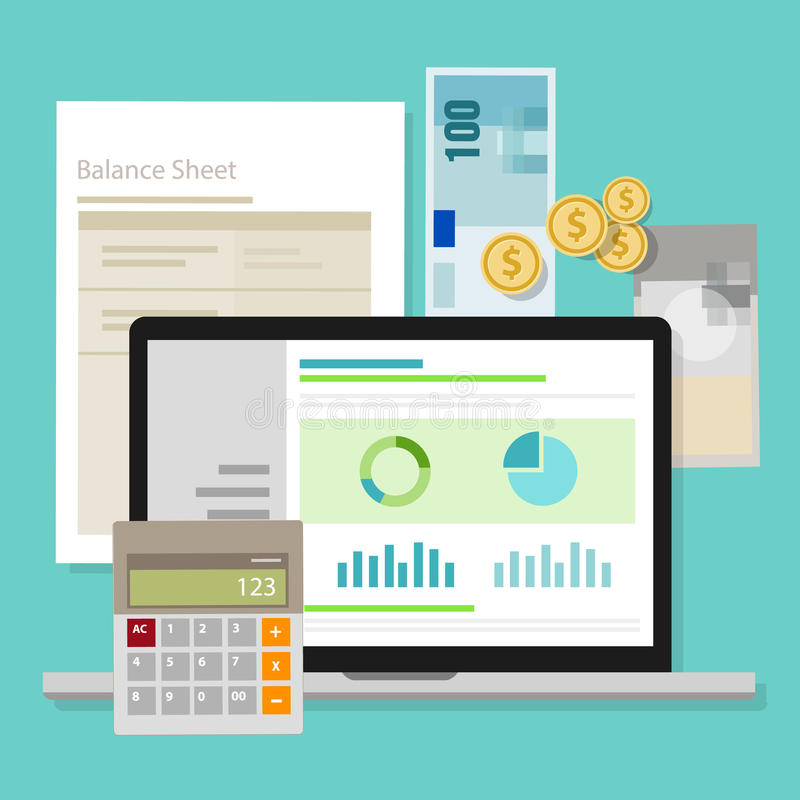 Buchhaltungs-Software-Bilanz-Geldtaschenrechner-Anwendungslaptop lizenzfreie abbildung
