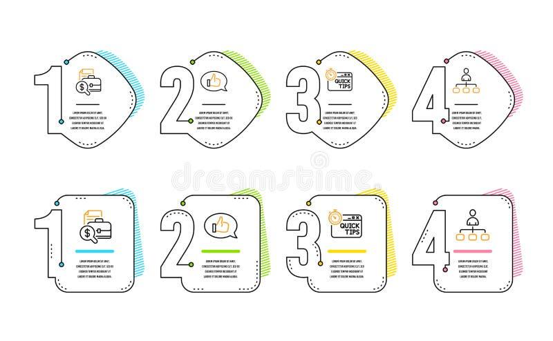 Buchhaltungsbericht, Feedback und schneller Spitzenikonensatz Management-Zeichen Vektor lizenzfreie abbildung