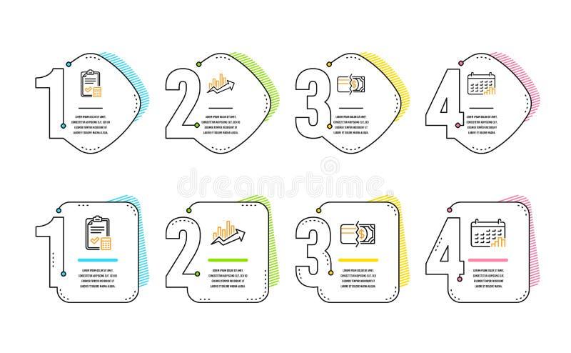 Buchhaltungscheckliste, Zahlungsmethoden und Wachstumstabelleikonensatz Kalenderdiagrammzeichen Vektor stock abbildung
