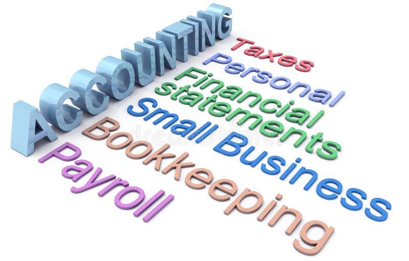 Buchhaltungssteuergehaltsabrechnungsmeldewörter stock abbildung